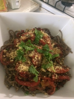 Roasted Tomato & Cilantro Pesto Pasta